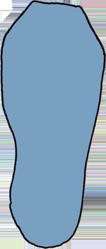 Zeichnung von einer Fußform mit unpassender Sockenform