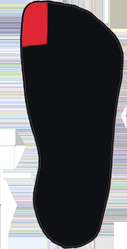 Zeichnung einer Fußform mit plus12socks in passender Form