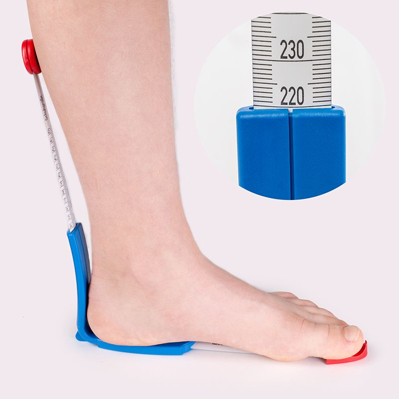 Picture of the plus12 measuring device for feet and shoes with a foot